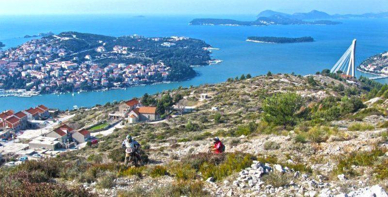 Riding Enduro bike on poligon in Konavle, Croatia